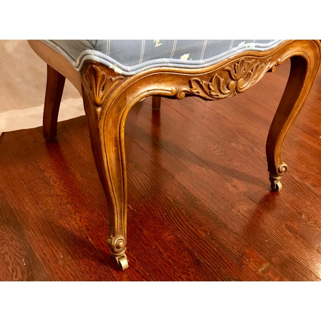Early 20th Century Antique Carved Wood Chair With Brass Wheels For Sale - Image 5 of 7