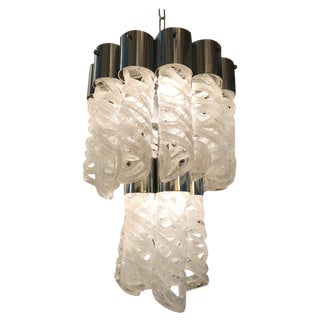 Spiral Glass Chandelier by Venini For Sale