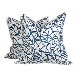 Navy and Ivory Linen Abstract Scribble Pillows - a Pair For Sale