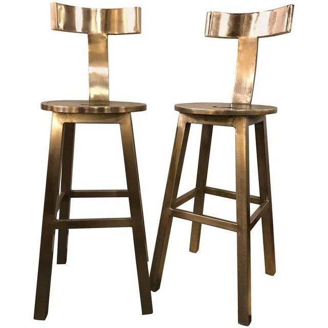 A Pair of Deco Style Steel Bar Stool For Sale - Image 12 of 12