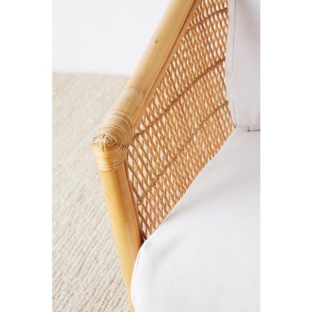 Bamboo Midcentury Bamboo Rattan Wicker Three-Seat Sofa For Sale - Image 7 of 13
