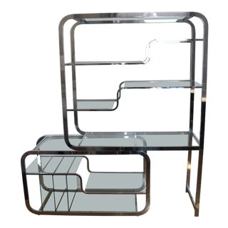 1970s Mid-Century Modern Milo Baughman Chrome and Glass Étagère For Sale