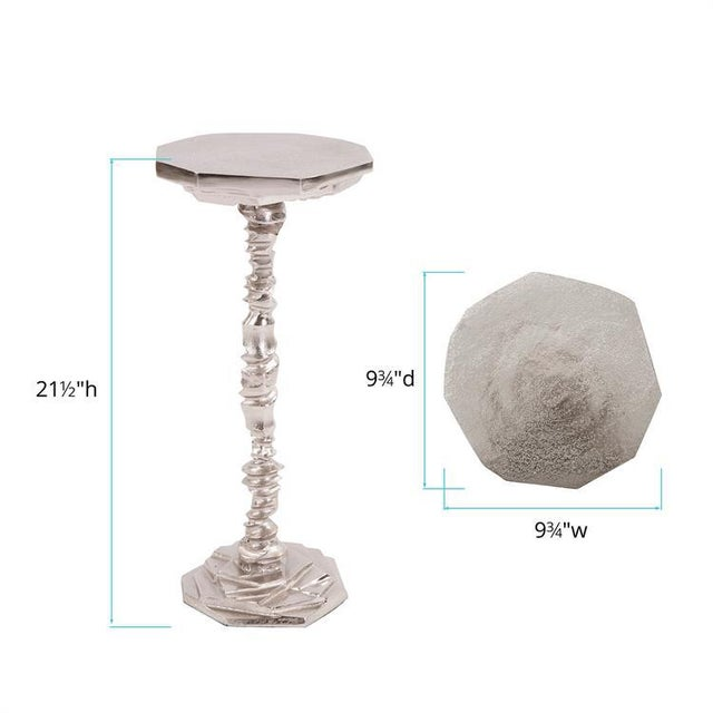 Kenneth Ludwig Chicago Kenneth Ludwig Rock Cut Cast Aluminum Martini Table For Sale - Image 4 of 5