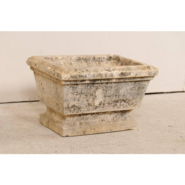 Rustic European Hand-Carved Rectangular Stone Planter With Chamfered Edges For Sale - Image 3 of 7