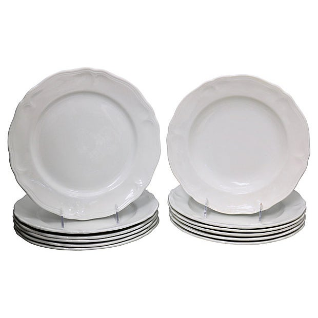 Early 20th Century French White Porcelain Dinner & Salad Plates - 12 Pieces For Sale - Image 5 of 5