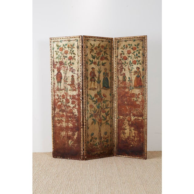 19th Century English Renaissance Revival Leather Painted Screen For Sale - Image 10 of 13