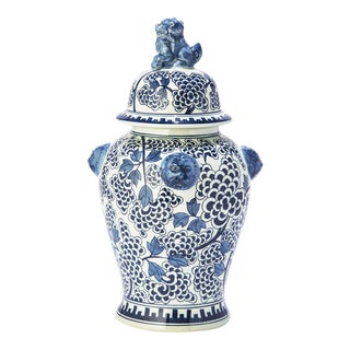 Kenneth Ludwig Lion Blue & White Jar For Sale