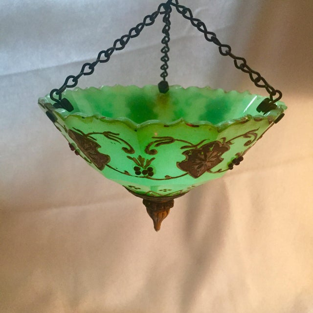 Moroccan Gilted Jadeite Glass Hanging Votive - Image 2 of 8