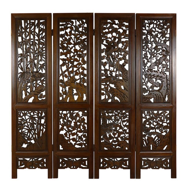 Chinese Antique Carved Teak Wood Panels Screen Room Divider