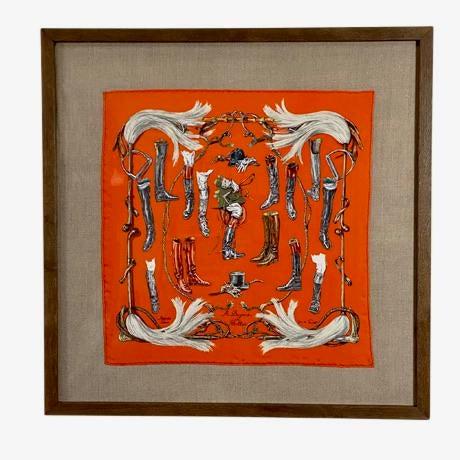 """Framed Vintage Unused Hermès Silk Scarf """"Propos De Bottes"""" For Sale - Image 9 of 9"""