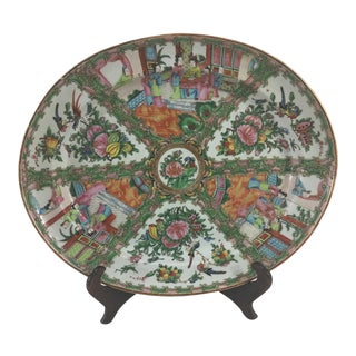 Large 19th Century Rose Medallion Platter For Sale