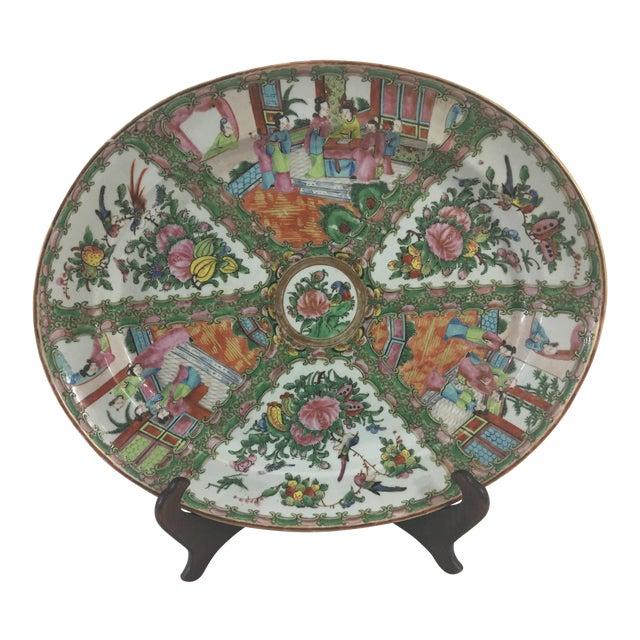 Large 19th Century Rose Medallion Platter For Sale