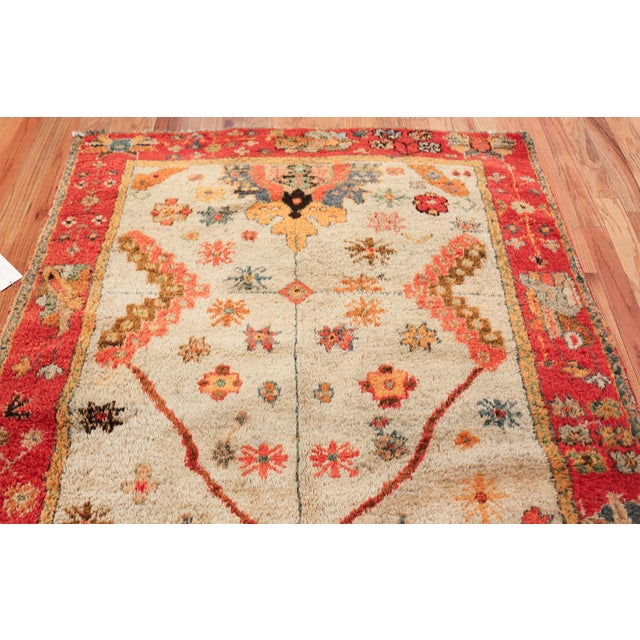 Early 20th Century Antique Turkish Arts and Crafts Light Blue Oushak Rug - 5′5″ × 11′ For Sale - Image 5 of 11