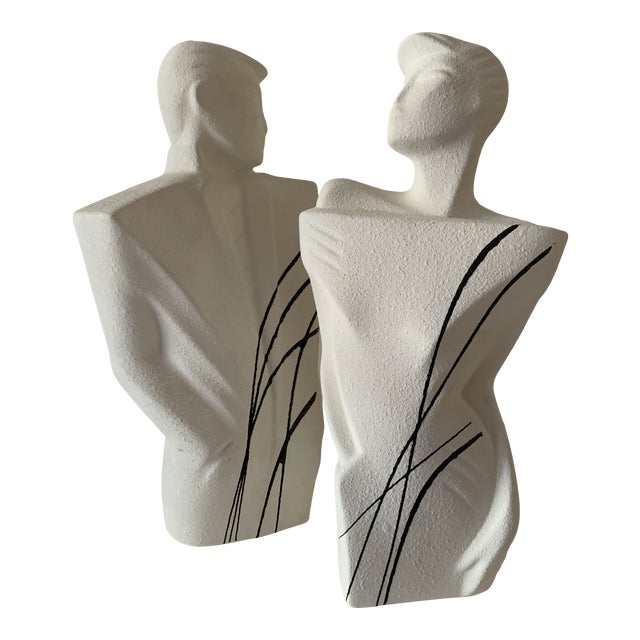 """1980's """"New Wave"""" Figurative Ceramic Sculptures - a Pair For Sale"""