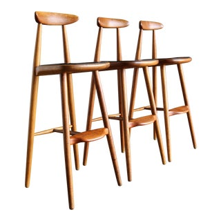 Vilhelm Wohlert for Stolefabriken Odense, Denmark Teak Stools - Set of 3 For Sale