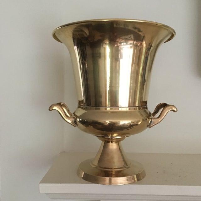 Vintage Brass Urn Shape Champagne Bucket Wine Cooler For Sale - Image 12 of 12