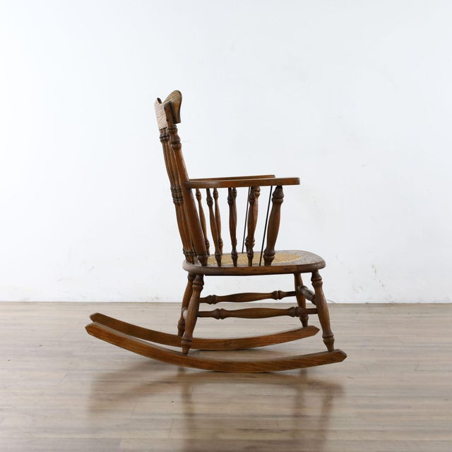 2010s Antique Spindle Back Oak Rocking Chair For Sale - Image 5 of 8