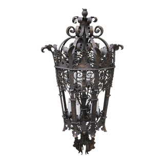 Monumental Wrought Iron Six Light Lantern For Sale