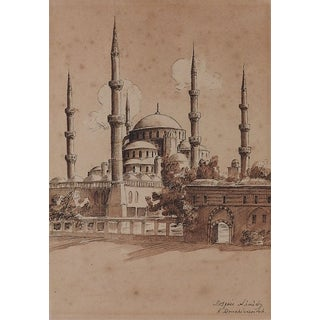 The Blue Mosque, Istanbul Watercolor Painting For Sale