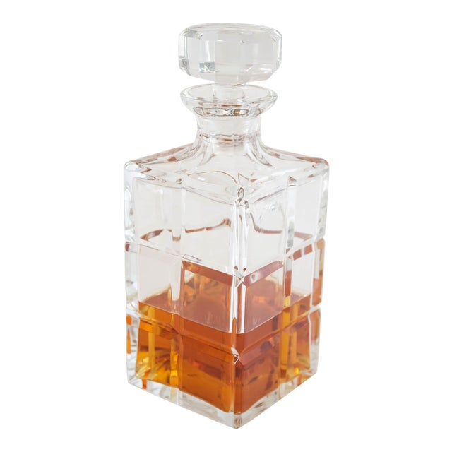 Square Cut Crystal Whiskey Decanter W/Stopper For Sale