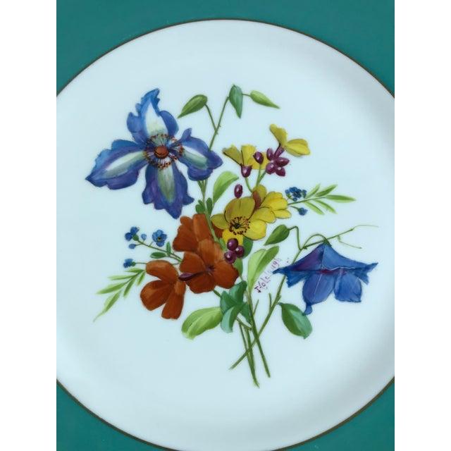 Signed J. Colclough Minton H4780 Hand Painted Floral Aqua Rim Plates - Set of 12 For Sale - Image 10 of 13