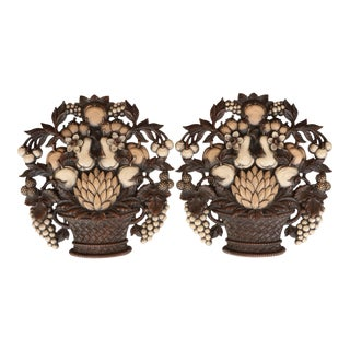 Syroco Fruit Basket Wall Hangings - a Pair For Sale