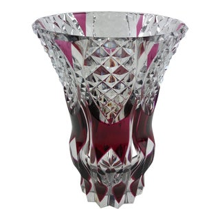 French Contemporary Amethyst or Pink Red Crystal Flower Vase For Sale