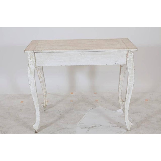 Wood Painted Gustavian Table With a Single Drawer For Sale - Image 7 of 9