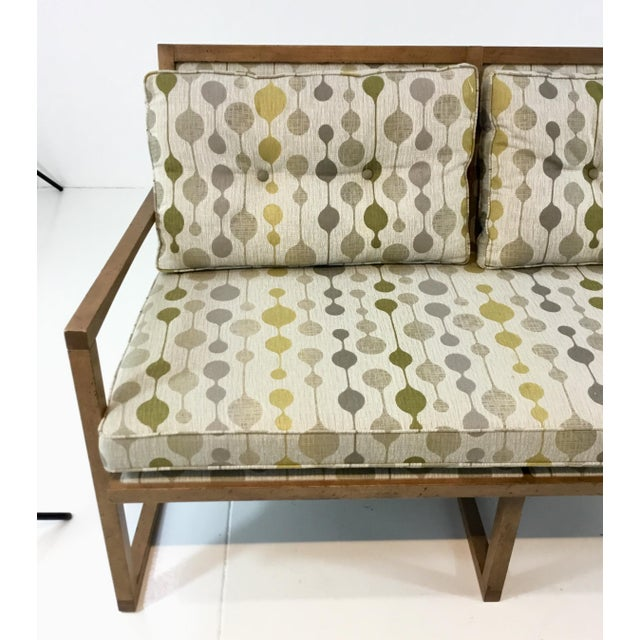 Mid-Century Danish Modern Style Milan Settee by: Currey & Co., light wood textured frame with a geometric upholstery,...