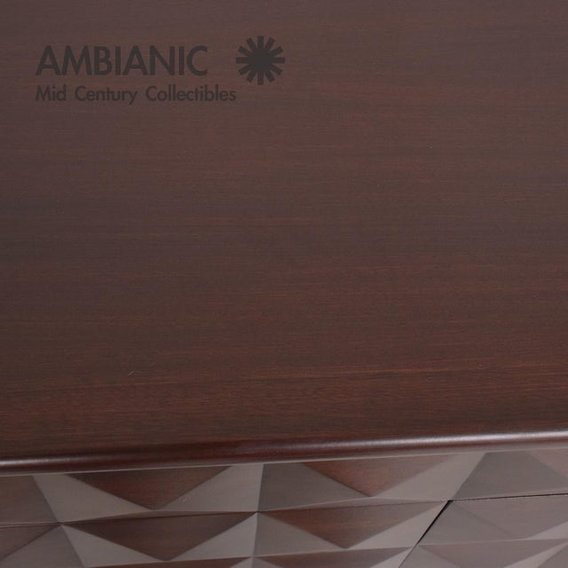 Gold Mid-Century Mexican Modernist Mahogany Credenza For Sale - Image 8 of 10
