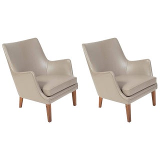Pair of Arne Vodder Leather Lounge Chairs by Ivan Schlechter, Denmark, 1953 For Sale