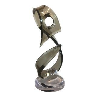 Rare Modern Smoky Lucite Globe Drop Decorative Center Piece Sculpture For Sale