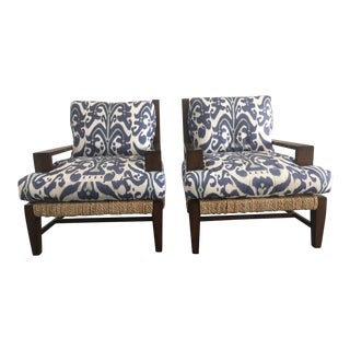 A. Rudin Ikat Linen Lounge Chairs - A Pair For Sale