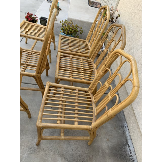 Boho Chic 1970s Boho Chic Bamboo Dining Set of Six Chairs For Sale - Image 3 of 13