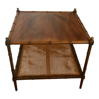 1960s British Colonial Style Cane and Burl Wood Accent Table For Sale