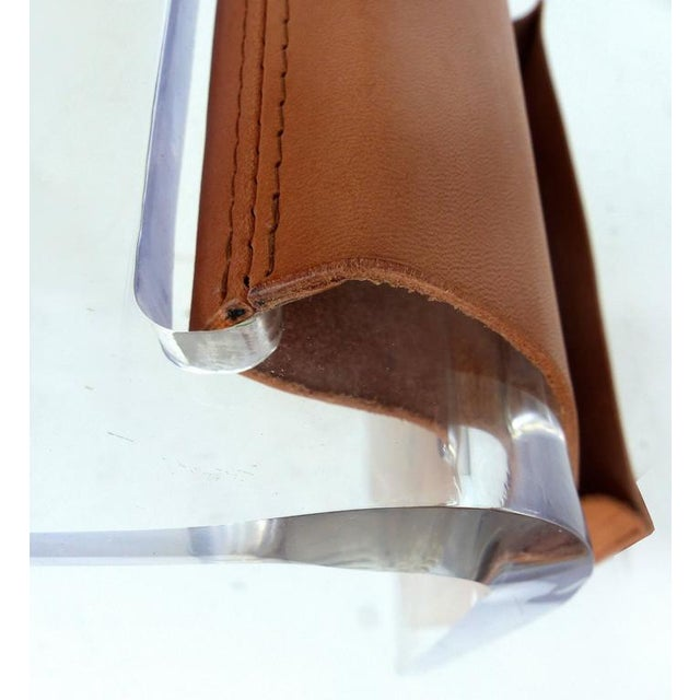 Brown Custom-Made Lucite Side Table with Leather Magazine Pocket For Sale - Image 8 of 10