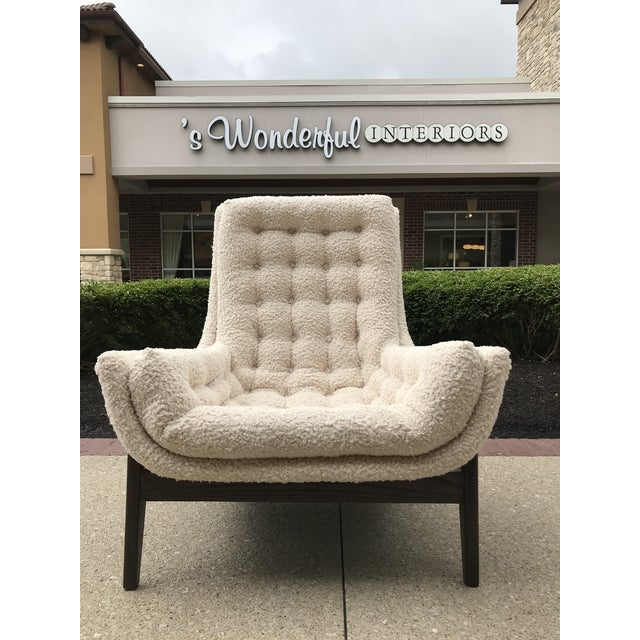 1960s Adrian Pearsell for Basset Mid-Century-Modern Lounge Chair Tufted Faux Fur Shearling For Sale - Image 5 of 10