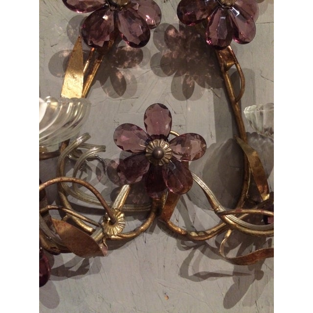 Italian Gilt Metal Wall Sconces with Amethyst Crystals - A Pair For Sale - Image 5 of 6