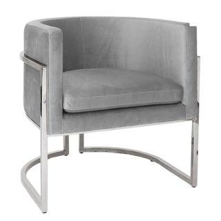 Worlds Away Modern Gray Velvet and Polished Nickel Barrel Back Jenna Lounge Chair For Sale