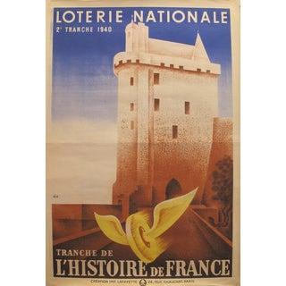 "1940 Original French Art Deco Advertising Poster, Loterie Nationale ""L'Histoire De France"", by Derouet & Lesacq For Sale"