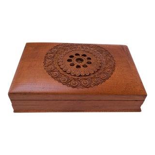 Vintage Hand-Carved Cedar 'Lock' / Trick Cigar Box / Decorative Box For Sale