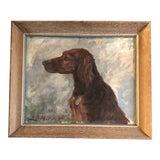 Image of Vintage Original Setter Dog Portrait Painting 1950's Signed Original Frame For Sale