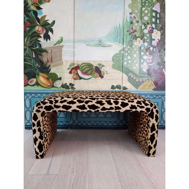 Karl Springer 1980s Vintage Karl Springer Style Velvet Leopard Waterfall Bench For Sale - Image 4 of 9