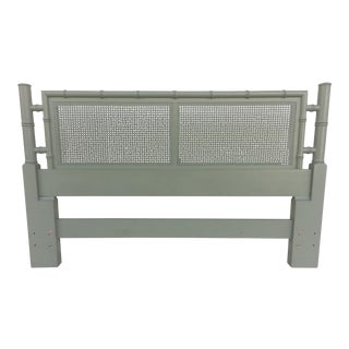 Henredon Green Faux Bamboo Queen or Full Headboard For Sale