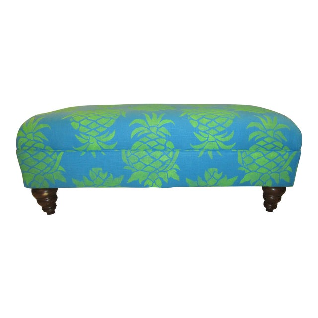 Large Turquoise Pineapple Print Ottoman - Image 1 of 5