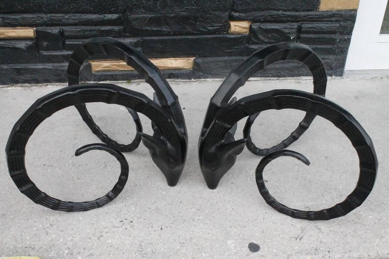 Black Vintage Black Metal Ibex Head Coffee Or Cocktail Table Bases   A Pair  For Sale