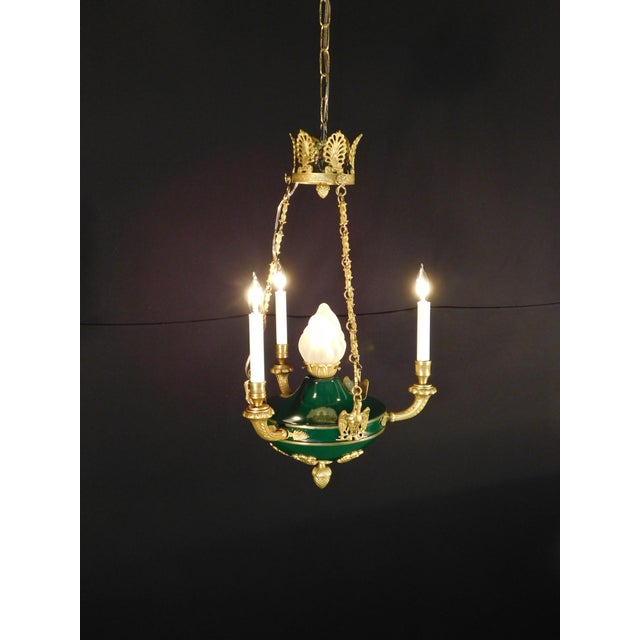 1950s Antique French Empire Flame Ormolu Chandelier For Sale - Image 5 of 13 - Antique French Empire Flame Ormolu Chandelier Chairish