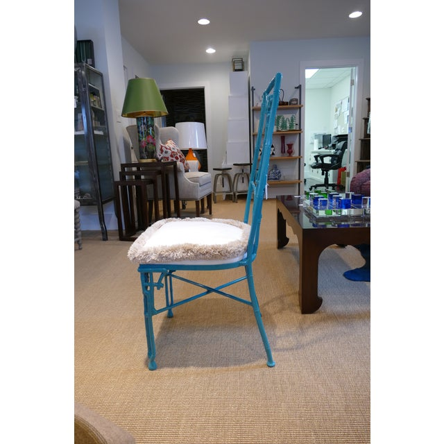 Shabby Chic Modern Teal Wrought Iron Outdoor Chair For Sale - Image 3 of 13