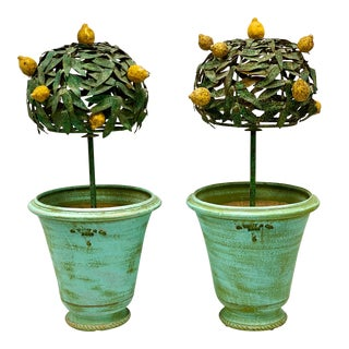 Pair of 1960s French Tole Lemon Trees in Pots For Sale