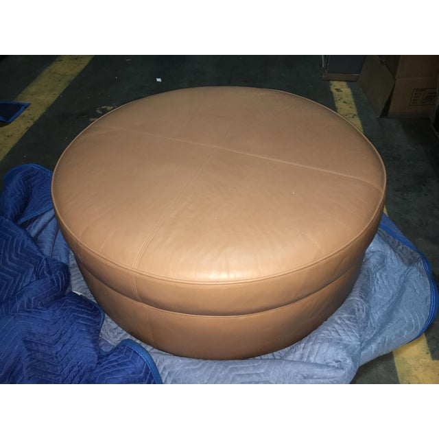 Donghia Custom Leather Donghia Ottoman For Sale - Image 4 of 4